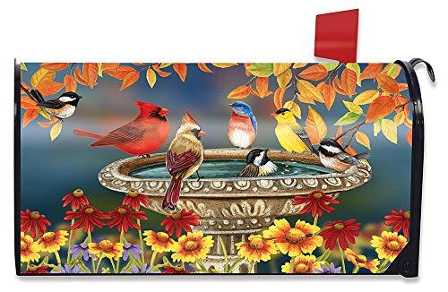 Briarwood Lane Fall Birdbath Floral Magnetic Mailbox Cover Cardinals Bluebird Standard