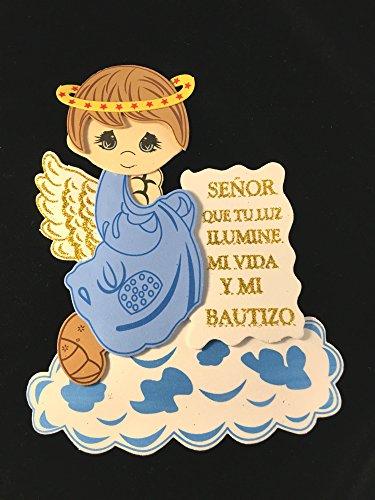 Blue Little Angel, Boy Baptism Foam Figure Decoration. Angelito de fomi para bautizo. (10) parti pack -