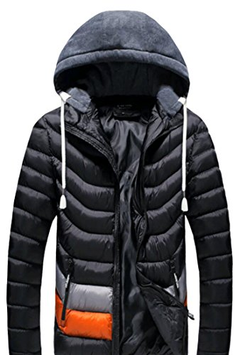 M&S&W Men's Removable Hooded Quilted Winter Cotton Jacket Black
