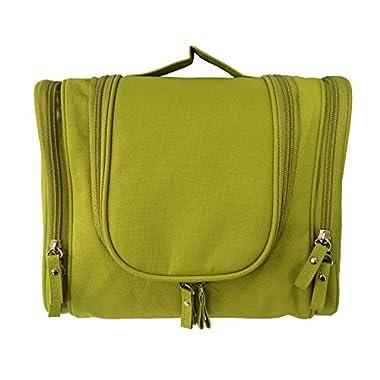 Hanging Travel Toiletry Bag or Bathroom Bag for Women Makeup or Men Shaving Kit with Hanging Hook Color Green