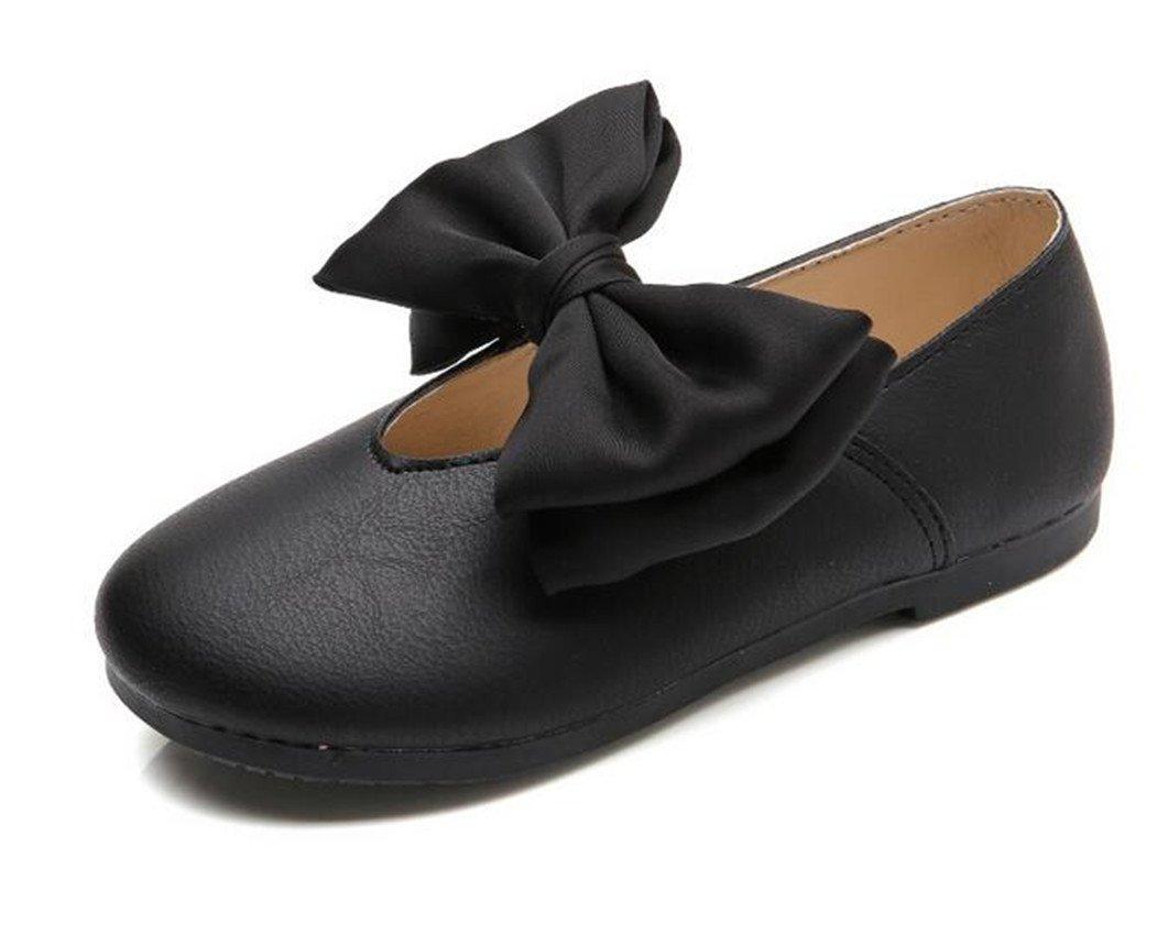 Bumud Little Girl's Retro Mary Jane Front Bow Ballerina Flat Shoes(Toddler/Little Kid) (11 M US Little Kid, Black)