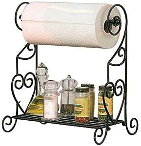 VANRA Spice Rack Kitchen Spice Stand Jars Storage Organizer with Tissue Dispenser Rack / Bathroom Paper Towel Holder & Towel Bar (Black)