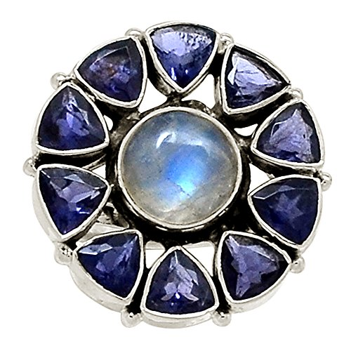 Iolite Moonstone Bracelet (Xtremegems Moonstone & Iolite 925 Sterling Silver Ring Jewelry Size 7.5 19682R)