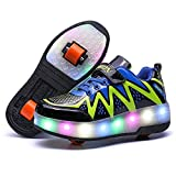 Nsasy LED High Top Roller Sneaker Single Wheel Double Wheel Light Up Shoes (35 EUR / 3.5 M US Big Kid, Black/Red (Double Wheel))