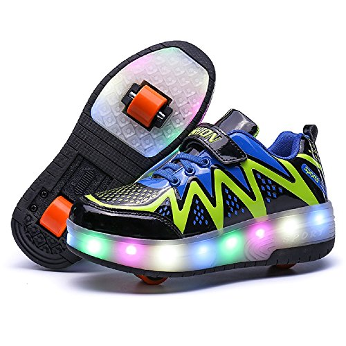 Nsasy Wheel Shoes Roller Shoes Girls Boys Roller Sneakers Kids Roller Skate Shoes LED Light up Shoes Wheels -
