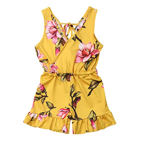 1-6T Kids Toddler Baby Girl Summer Outfit Clothes V Neck Floral Ruffled Romper Jumpsuit Clothes (Yellow, 4-5T)