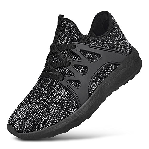 Nike Adidas Puma Shoes - Feetmat Boys Grils Sneakers Lightweight Athletic Sports Running Shoes Breathable Tennis Shoes Black Grey 4.5