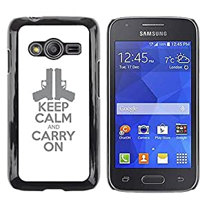 Be Good Phone Accessory // Dura Cáscara cubierta Protectora Caso Carcasa Funda de Protección para Samsung Galaxy Ace 4 G313 SM-G313F // handgun pistol poster stylish white