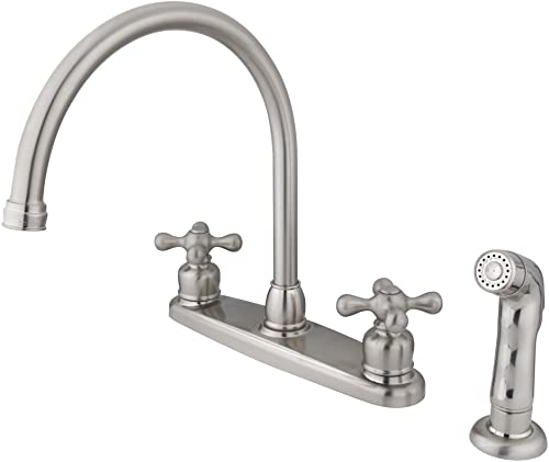 Kingston Brass KB728AXSP Victorian Gooseneck Kitchen Faucet with Sprayer, 8-3 4-Inch, Brushed Nickel