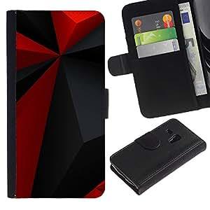 Planetar® Modelo colorido cuero carpeta tirón caso cubierta piel Holster Funda protección Para Samsung Galaxy S3 MINI i8190 (NOT S3) ( Modelo rojo del Polígono Gris Negro Moderno )