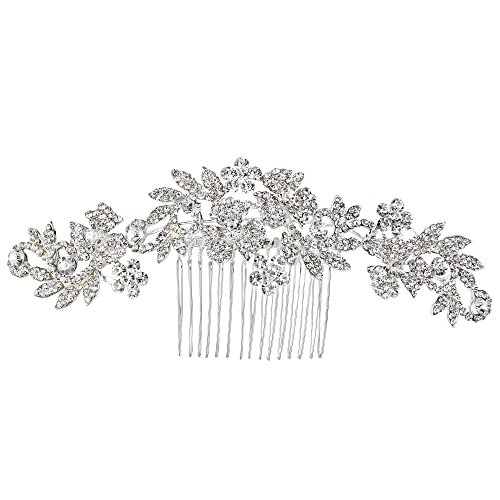 - BriLove Wedding Hair Accessories Bridal Hair Comb Bohemian Boho Crystal Cluster Flower Vine Leaf Bling Comb for Bride and Women Clear Silver-Tone