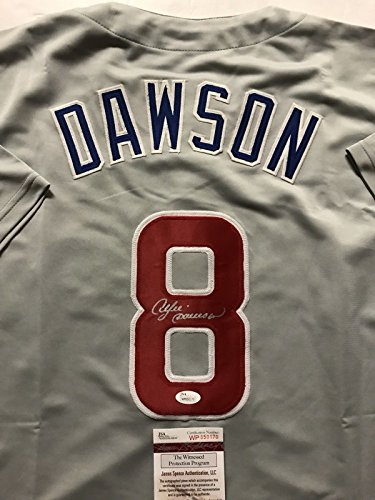 Andre Dawson Autographed Baseball (Autographed/Signed Andre Dawson Chicago Cubs Grey Baseball Jersey JSA COA)