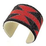 Handmade Red Black Seed Beads Bead work Cuff Bracelet Leather 6.5 X 2 Inch
