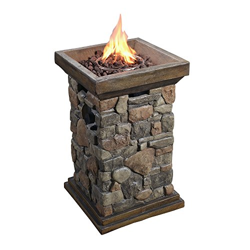 Peaktop - Outdoor 29-Inch height Natural Slate Rock Square Column Propane Gas Fire Pit for Garden and Yard by Peaktop