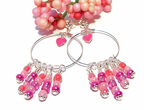 Hoop Earrings with Cotton Candy Pink, Amethyst, Fuschia and Bright Pink Glass Beads and Enameled Hearts