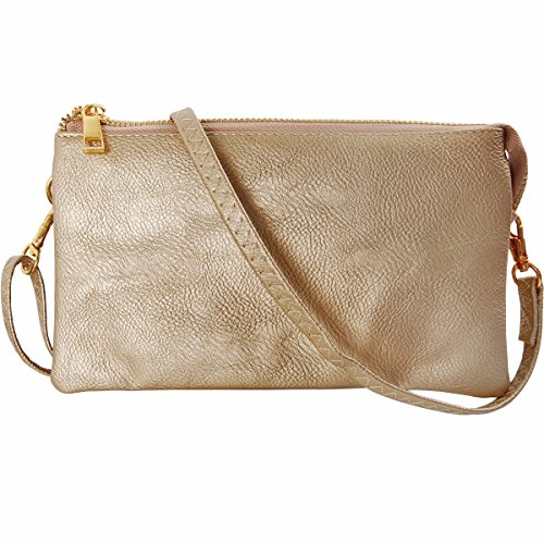 Humble Chic Vegan Leather Small Crossbody Bag or Wristlet Clutch Purse, Includes Adjustable Shoulder and Wrist Straps, Yellow Gold, Metallic