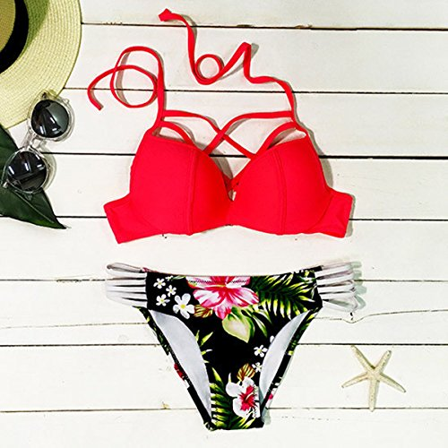 Cupshe Fashion Women's Red Strappy Top Floral Printing Bottom Halter Bikini Swimsuit (S)