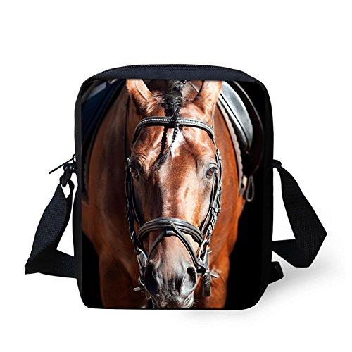 HUGS IDEA Animal Crazy Horse Wolf Pattern Women Travel Cross Body Bag Girls Small School Shoulder Book Bags