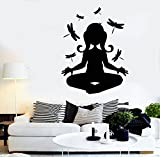 N.SunForest Yoga Girl Meditation Silhouette with Dragonfly Peace Vinly Wall Decal Sticker Kids Nursery Baby Room Decor Wall Art Murals