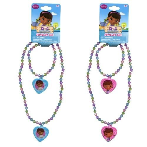 Disney Doc McStuffins Girls Heart Charm Necklace and Bracelet Set - Assorted Styles (1 Set)]()