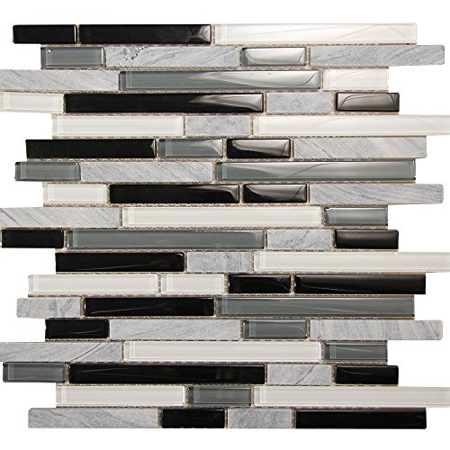 Grey Stone Tile With Black, Grey, White Linear Glass - Mosaic For Kitchen Backsplash and Shower Wall - Selene 11 (4 x 6 Inch Sample)