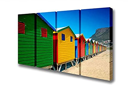 Panel de cuatro colores de casetas de playa lienzo Prints, Large 32 x 64 inches