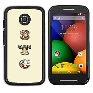 EJOOY---Cubierta de la caja de protección para la piel dura ** Motorola Moto E ** --pocilga patrón de texto patrón iniciales amarilla