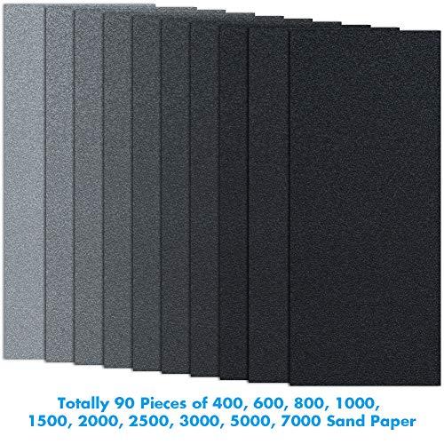 Cridoz 20 Pcs 9 x 11 High Grit Wet and Dry Sandpaper Assortment 400 600 800 1000 1500 2000 3000 5000 7000 10000 for Car