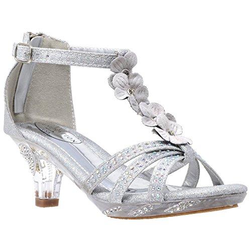 - Generation Y Kids Heel Sandals T-Strap Flower Glitter Rhinestone Clear Low Heels Silver SZ 5 Youth