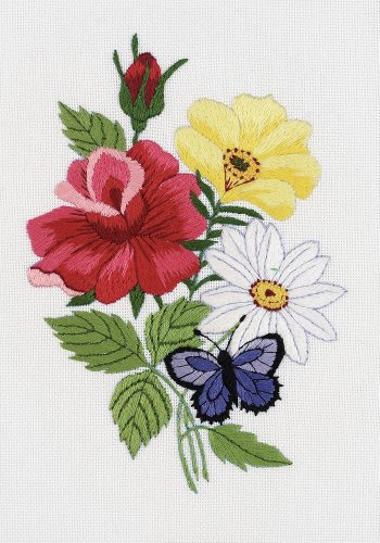 Janlynn 004-0853 Embroidery Kit, 7-Inch by 5-Inch, Butterfly Floral