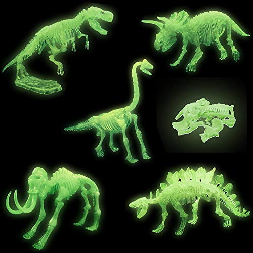 - 3D Glowing Dinosaur Fossil Puzzles | Glow in The Dark Dino Skeleton Model Toys | Kids Archaeology Kits Party Favors (10-Inches)