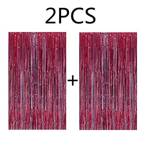 Blukey 2pcs 3ftx8ft Hot Pink Metallic Tinsel Foil Fringe Curtain]()
