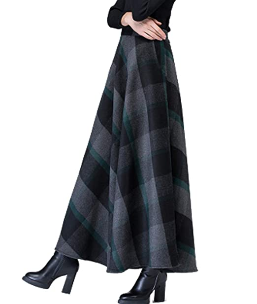 aea16809d8 Femirah Women's Elegant High-Waist Wool A-Line Maxi Skirt with Pockets:  Amazon.co.uk: Clothing
