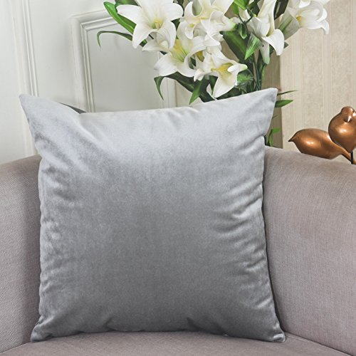 Home Brilliant Luxurious Solid Shiny Short Plush Velvet Decorative Throw Pillowcase Cushion Cover for Patio/ Couch/ Bench, 18x18, Silver Grey Pillowcase Cushion Cover