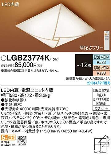 パナソニック照明器具(Panasonic) Everleds LED 和風シーリングライト【~12畳】 調光調色タイプ LGBZ3774K B079521MC6