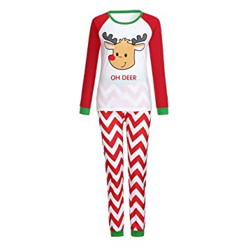 0aeb1955b2dc7 Matching Family Pajamas Boys Pjs for Girls Christmas OH DEER Striped Clothes  Women Cotton Clothes Sleepwear