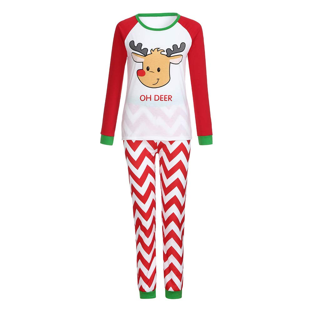 YunZyun 2 Piece Women Christmas Deer Print Pajama Sets Jammies Matching Family Winter Long Sleeve Cartoon Fashion Novetly Warm Cotton Pjs Sleepwear for Girls Lady Mom(S-XL) (Red, XL)