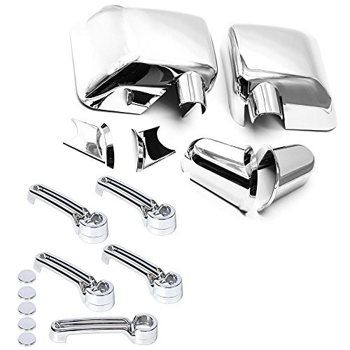 Jeep Wrangler Outside Door Handle - S SIZVER Combo Chrome 2pcs FULL Mirrors+5 pcs Door Handles Covers For 2006-2018 Jeep Wrangler