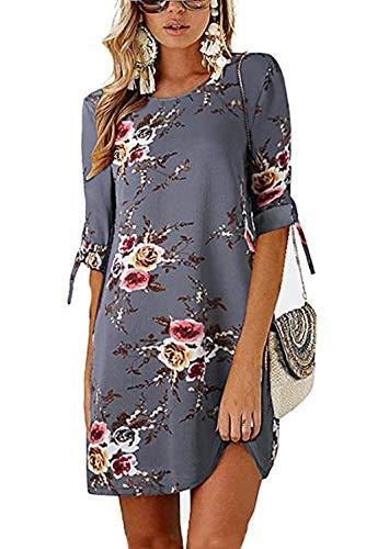 DDSOL Women's Casual Shift Dress Floral Crew Neck 3/4 Sleeve Mini Casual Dress Grey