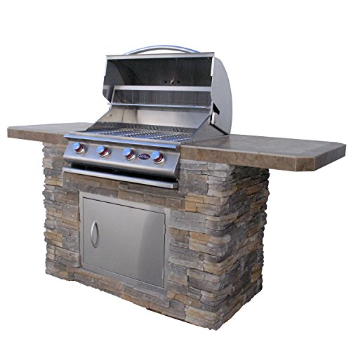 Cal Flame Bistro 470-AS Cultured Stone BBQ Island with 4 Burner Grill, 7'/Medium by Cal Flame