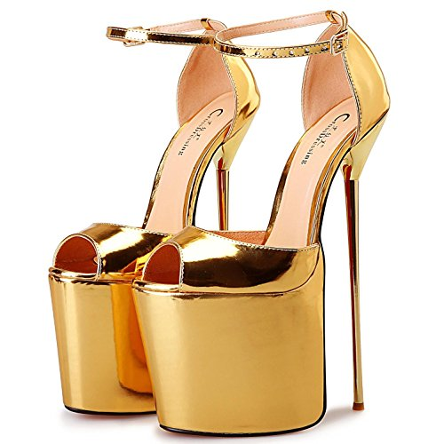 L@YC Zapatos de Tacón Alto de Mujer Cuero Sintético/Cuero Sintético Primavera/Verano/Tacones de Plataforma/SandaliasBoda/Al Aire Libre/Fiesta Gold