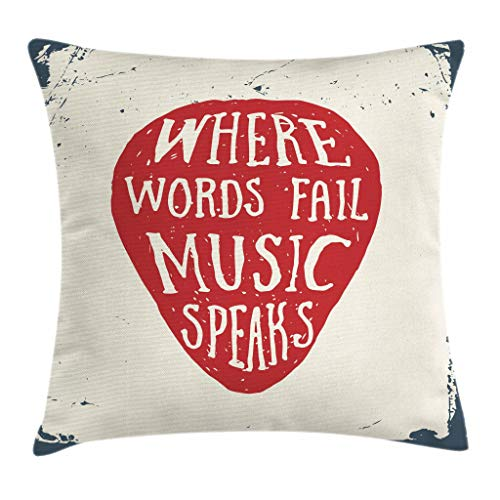 Ambesonne Rock Music Throw Pillow Cushion Cover, Where Words Fail Music Speaks Quote Musical Slogan Hand Drawn Pick, Decorative Square Accent Pillow Case, 18 X 18 Inches, Beige Red Slate Blue by Ambesonne