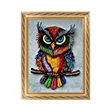Painting Kit DIY Diamond 5D Full Drill Crystal Rhinestone Embroidery for Home Wall Decor Wall Sticker 30X40 cm Owl
