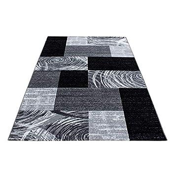 Modern Design Teppich Kurzflor Abstrakt Kariert Muster Schwarz Grau Wei/ß 80x150 cm