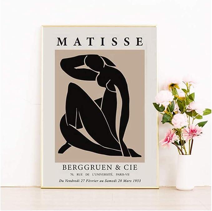 Rumlly Abstrakte Malerei Matisse Minimalist Frau Wandkunst Leinwanddrucke Vintage Poster Beige Wandbild f/ür Wohnzimmer zu Hause 20x30cmx3 Rahmenlos