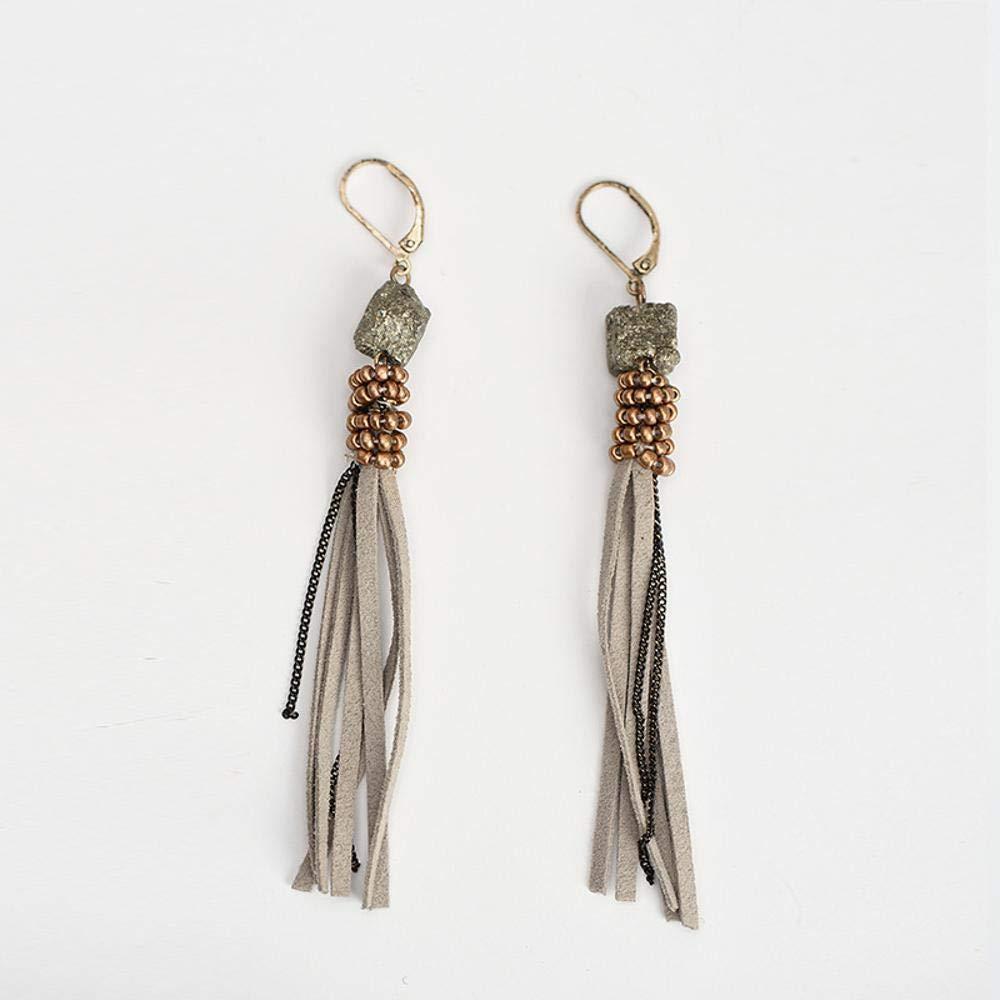 Ludage Earrings, Natural ore Handmade Bead Chain Earrings 98mm Stylish Plush Pendant Retro Earrings