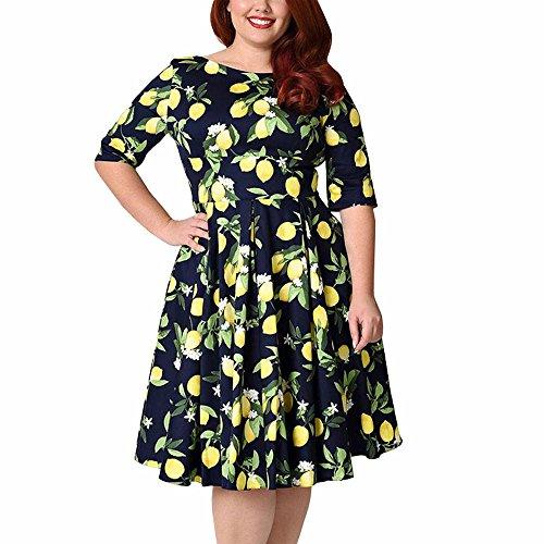助けになる時計合成Lady 1950s Vintage Cocktail Swing Dress Oversize Floral Party dresses,ブルー,5XL