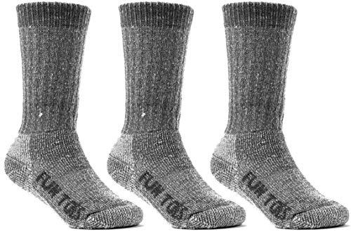 FUN TOES Children's 80% Thermal Merino Wool Socks 3 Pairs Mid Weight For Winter Ski Sport (Grey, 4-6 XSmall)
