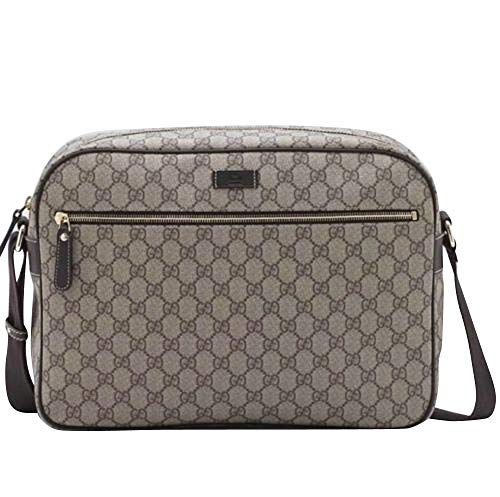 Gucci Men's Zip Top Beige/Ebony GG Plus Coated Canvas Bag 211107 -