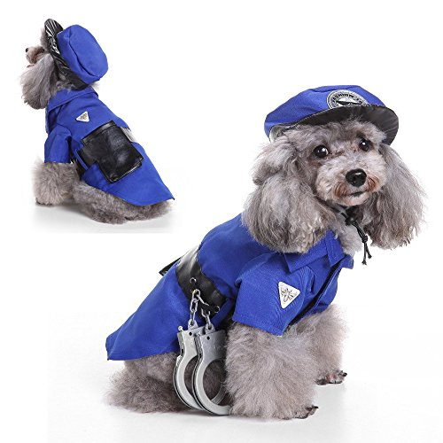 LUCKSTAR Police Dog Costume - Pet Clothes Police Suit with Hat Halloween Costume Party Pet Dog Costume Clothes Cosplay for Teddy / Pug / Chihuahua / Shih Tzu / Yorkshire (Dog Costume Carrying Gift For Sale)